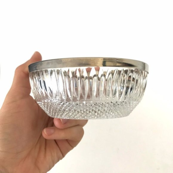 Vintage Pressed Cut Glass Bowl Catch All